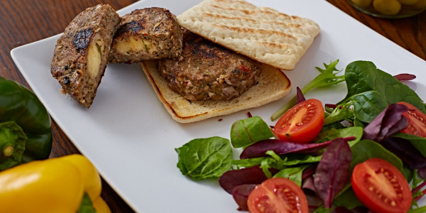 Lamb Burger Stuffed with Sheep's Milk Squeaky Cheese